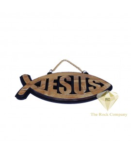 Holy Land Olive Wood Jesus Fish Wall Hanging