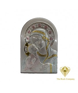 Virgin Mary with baby Jesus silver icon