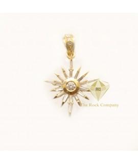 Baguette and Round Diamond Bethlehem Star Pendant 14K Gold