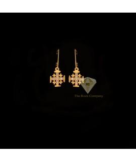 Diamond Jerusalem Cross Dangle Earrings