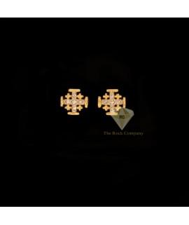Diamond Jerusalem Cross Stud Earrings