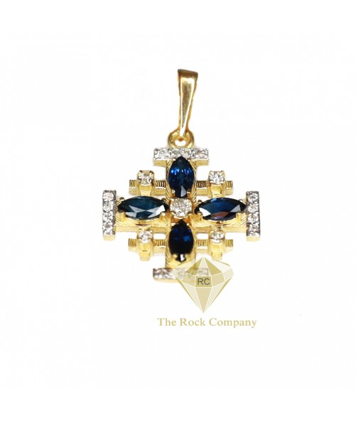 Diamond Sapphire Jerusalem Cross Pendant