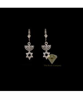 Diamond Menorah And Star Of David Earrings