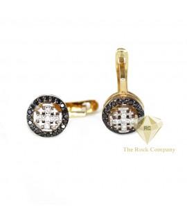 Black And White Diamond Jerusalem Cross Earrings