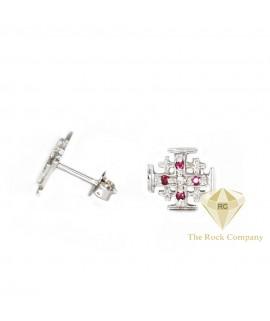 Diamond And Ruby Jerusalem Cross Stud Earrings