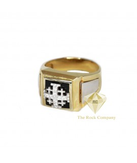 Diamond Black Onyx Jerusalem Cross Men Ring
