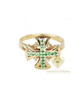 Diamond Emerald Jerusalem Cross Ring
