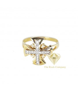 Diamond Jerusalem Cross Ring