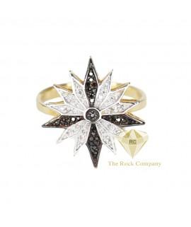 Black And White Diamond Bethlehem Star Ring