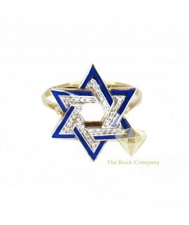 Diamond Enamel Star Of David Ring