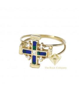 Diamond And Azurite Jerusalem Cross Ring