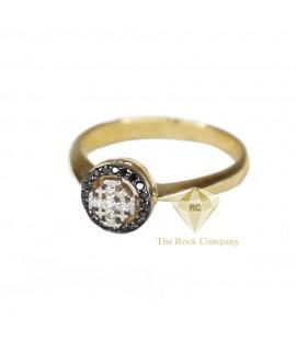 Black And White Diamond Jerusalem Cross Ring