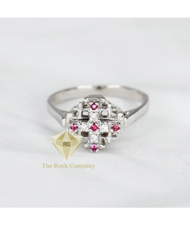 Diamond And Ruby Jerusalem Cross Ring 14K White Gold