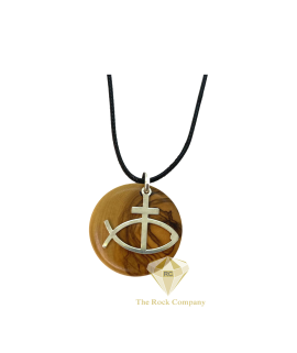 Jesus Fish and Cross Pendant With Olive Wood And Sterling Silver Handmade Necklace
