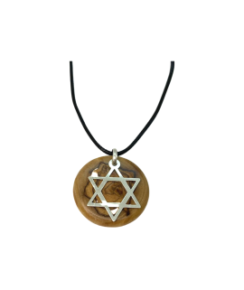 Star of David Pendant With Olive Wood And Sterling Silver Handmade Necklace