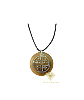 Jerusalem Cross Pendant Olive Wood and Sterling Silver Handmade Necklace