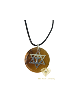 Star of David and Cross Pendant With Olive Wood And Sterling Silver Handmade Necklace