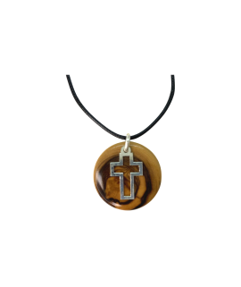 Cross Pendant With Olive Wood And Sterling Silver Handmade Necklace