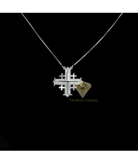 Sterling Silver Jerusalem Cross Magnatic Open Necklace