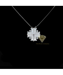 Sterling Silver Jerusalem Cross Magnatic Necklace