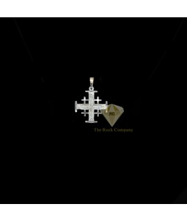 Sterling Silver Jerusalem Cross Pendant With Star Engraving