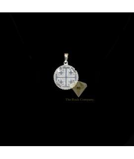 Sterling Silver Round Jerusalem Cross Pendant