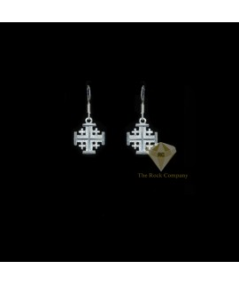 Sterling Silver Jerusalem Cross Earrings