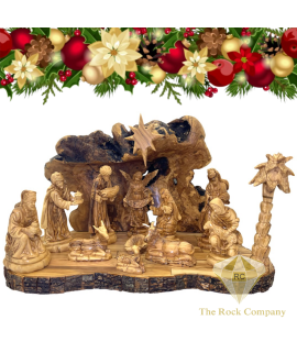 Christmas Nativity Set Olive Wood Hand Carved, Saint Joseph Holding Baby Jesus