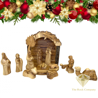 Nativity Set with camel olive wood hand carved