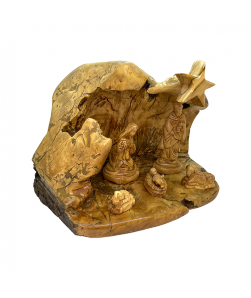 Christmas Nativity scene cave olive wood hand carved