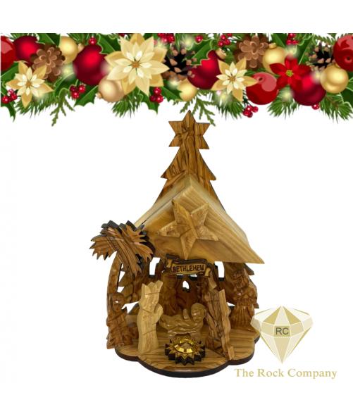 Musical Nativity set Olive Wood handmade in Bethlehem Holy Land
