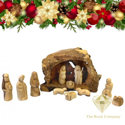Christmas Nativity Set Cave olive wood hand carved