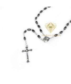 Hematite Rosary With Holy Soil