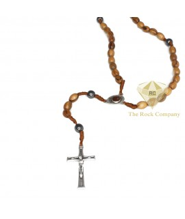 Olive Wood Rosary With Hematite Stone