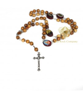 Olive Wood Rosary With Saint Icons and Holy Soil